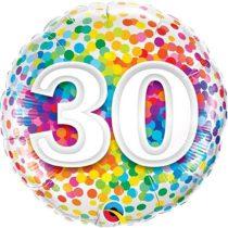 46 cm-es 30-as színes konfettis fólia lufi