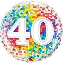 46 cm-es 40-es színes konfettis fólia lufi