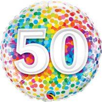 46 cm-es 50-es színes konfettis fólia lufi