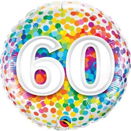 46 cm-es 60-as színes konfettis fólia lufi