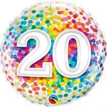 46 cm-es 20-as színes konfettis fólia lufi