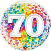 46 cm-es 70-es színes konfettis fólia lufi