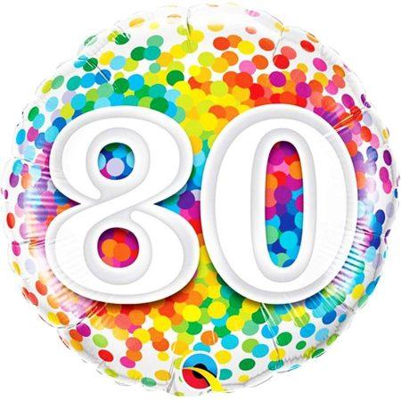 46 cm-es 80-as színes konfettis fólia lufi
