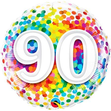 46 cm-es 90-es színes konfettis fólia lufi