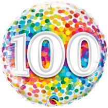 46 cm-es 100-as színes konfettis fólia lufi