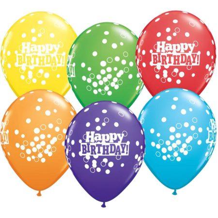 28 cm-es konfettis Happy Birthday gumi lufi vegyesen, 25 db/csomag