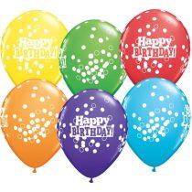 28 cm-es konfettis Happy Birthday gumi lufi vegyesen, 6 db/csomag