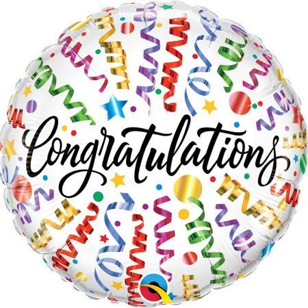 46 cm-es Congratulations színes szerpentines fólia lufi