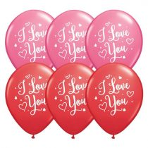 28 cm-es piros és rózsaszín I love you feliratos gumi lufi, 25 db/csomag