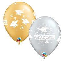 28 cm-es arany és ezüst Congratulations Graduate lufi, 6 db/csomag