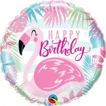46 cm-es flamingós Happy Birthday fólia lufi