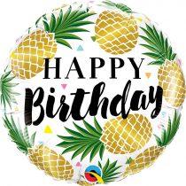 46 cm-es ananászos Happy Birthday fólia lufi