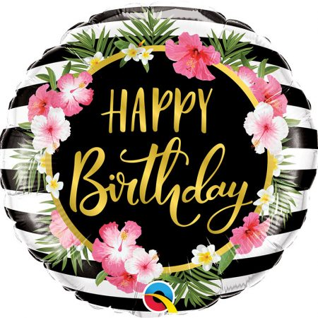 46 cm-es virágos Happy Birthday fólia lufi