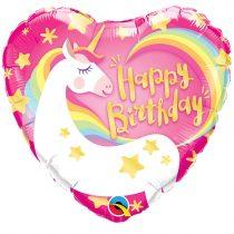 46 cm-es Unikornis Happy Birthday! fólia lufi