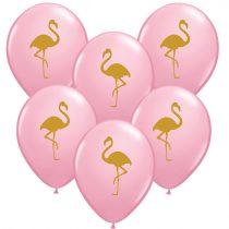 28 cm-es flamingó mintás lufi, 6 db/csomag