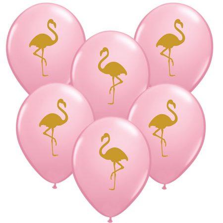 28 cm-es flamingó mintás lufi, 25 db/csomag