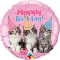 46 cm-es cicás Happy Birthday fólia lufi