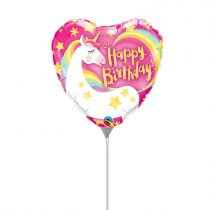 23 cm-es Unikornis Happy Birthday! fólia lufi pálcán