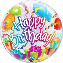 56 cm-es léggömbös Happy Birthday Bubble lufi