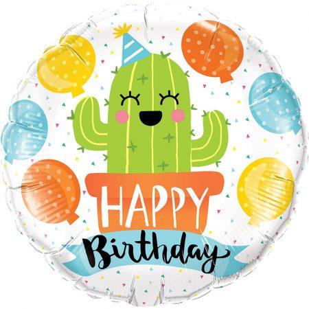 46 cm-es vidám kaktusz Happy Birthday fólia lufi