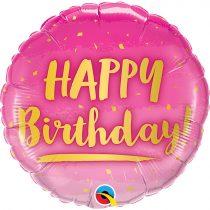 46 cm-es arany és pink Happy Birthday fólia lufi