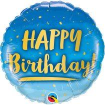 46 cm-es arany és kék Happy Birthday fólia lufi
