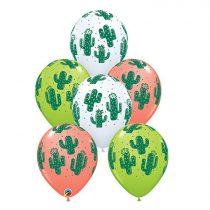 28 cm-es kaktusz mintás lufi, 25 db/csomag