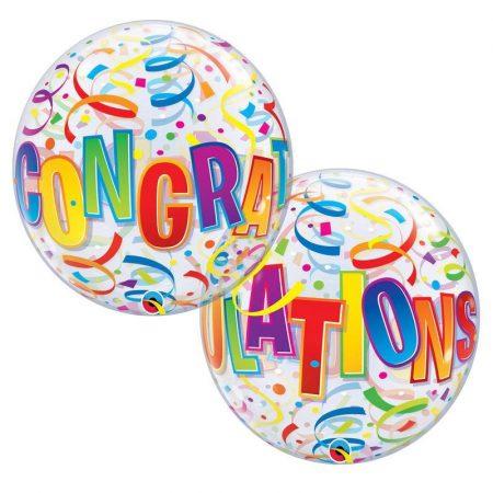 56 cm-es Congratulations feliratú Bubble lufi