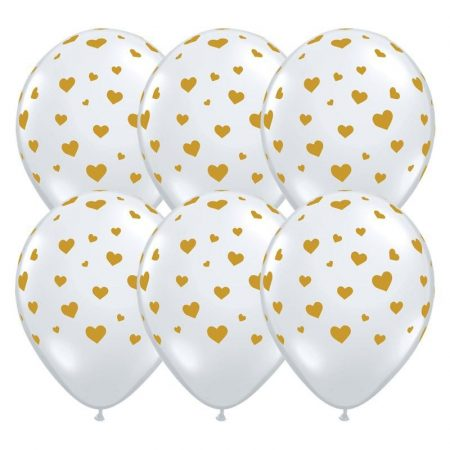 28 cm-es fehér szívecskés gumi lufi, 25 db/csomag