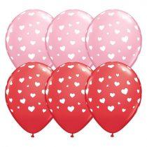 28 cm-es szívecskés piros és pink gumi lufi, 25 db/csomag