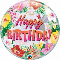 56 cm-es trópusi Happy Birthday Bubble lufi