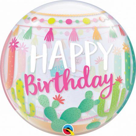56 cm-es láma Happy Birthday Bubble lufi