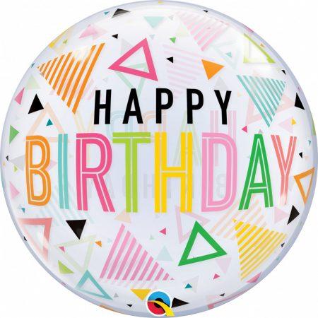 56 cm-es színes háromszögek Happy Birthday Bubble lufi