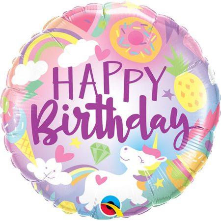 46 cm-es unikornis világa Happy Birthday fólia lufi