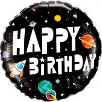 46 cm-es asztronauta Happy Birthday fólia lufi