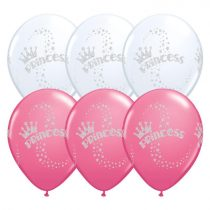 28 cm-es glitteres hercegnős lufi, 25 db/csomag