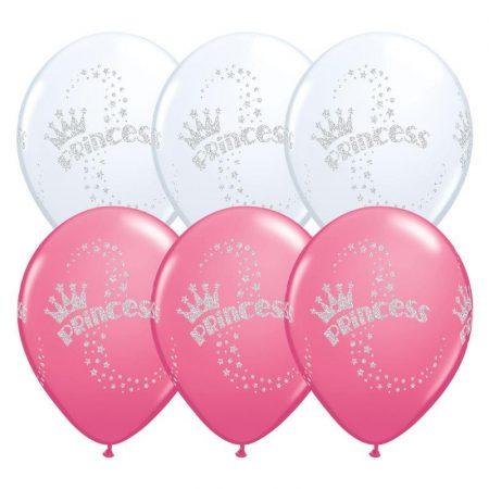 28 cm-es glitteres hercegnős lufi, 6 db/csomag