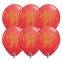 28 cm-es piros I love you feliratos gumi lufi, 25 db/csomag