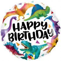 46 cm-es dínós Happy Birthday fólia lufi
