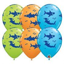 28 cm-es cápás gumi lufi, 6 db/csomag