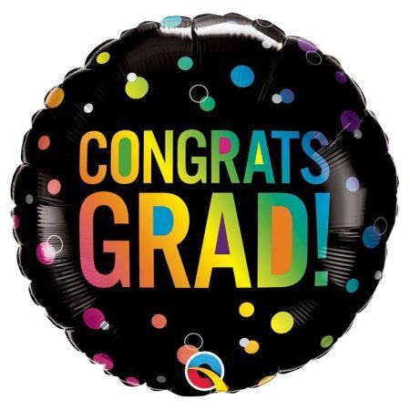 46 cm-es Congrats Grad! fekete fólia lufi