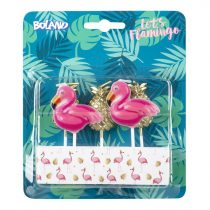 Flamingó és ananász tortagyertya 5 db-os