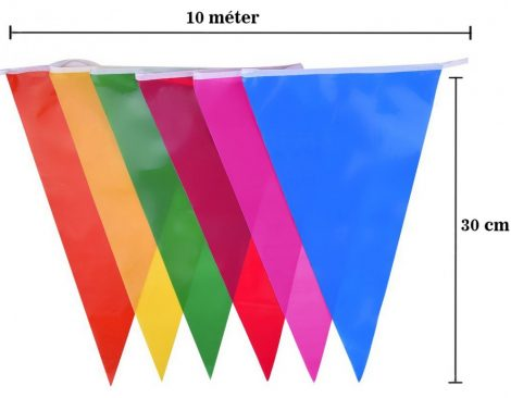 Színes közepes zászlófüzér, 10 méter
