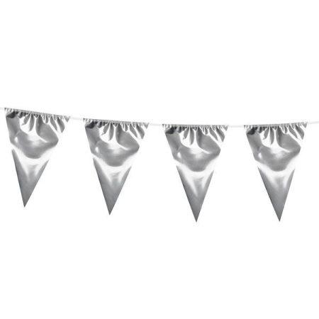Ezüst színű zászlófüzér, 10 méter