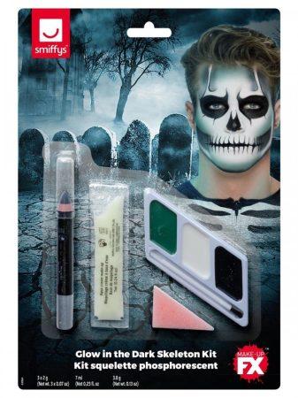 Sötétben világító csontváz arcfestő készlet